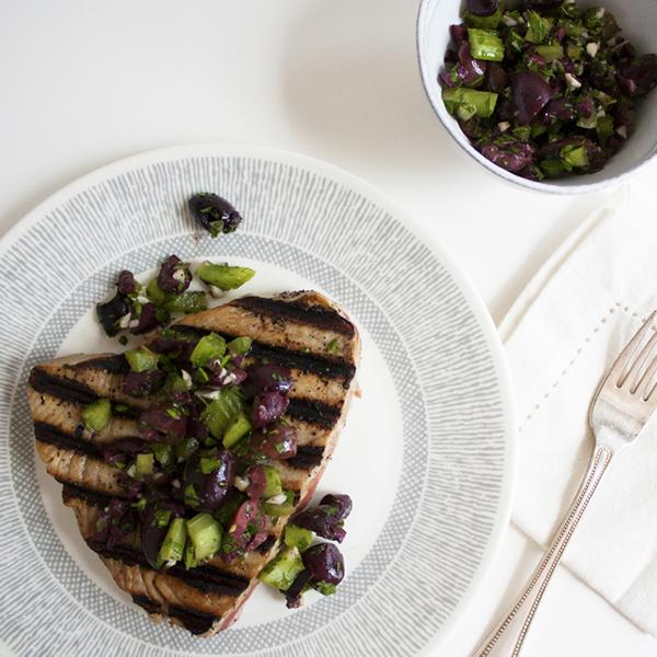Grilled Tuna with Kalamata Olive Relish