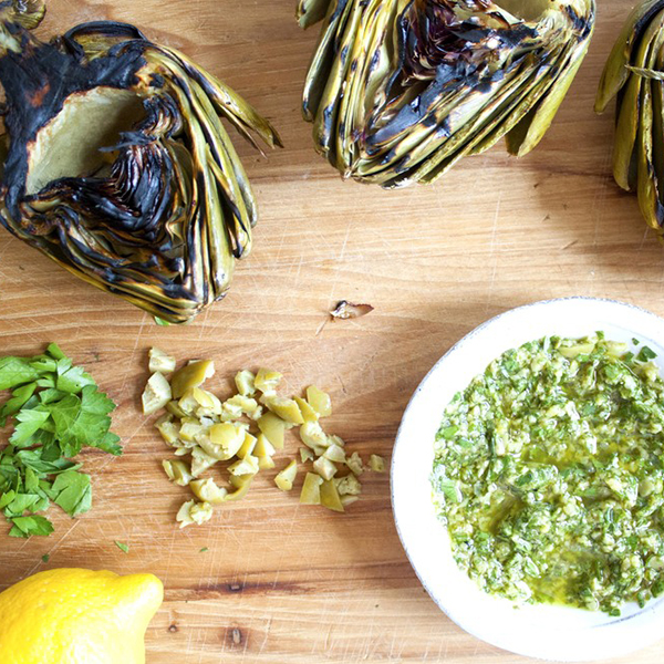 Grilled Artichoke with Green Olive Dip