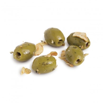 D0576 - Minced Garlic Marinated Mt. Athos Green, Pitted (Kit)