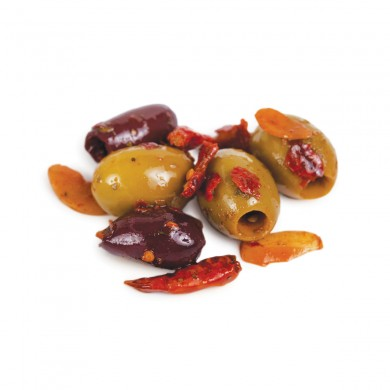 D0578 - Crushed Chile Marinated Greek Olive Mix, Pitted (Kit)