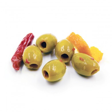 D0813 - Tangerine & Chili Marinated Green Olives, Pitted