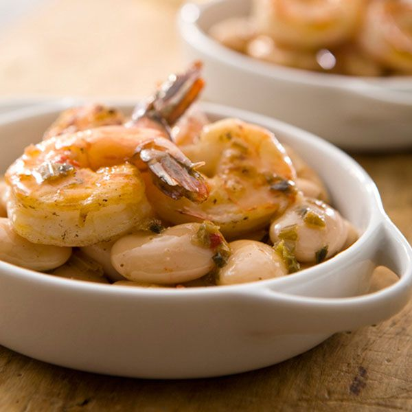 Grilled Shrimp & Gigandes Beans