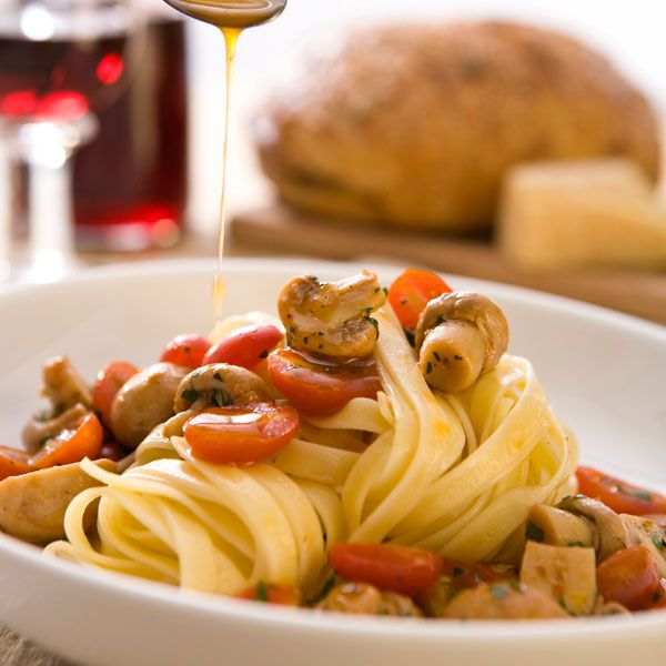 Fettucine with Marinated Button Mushrooms