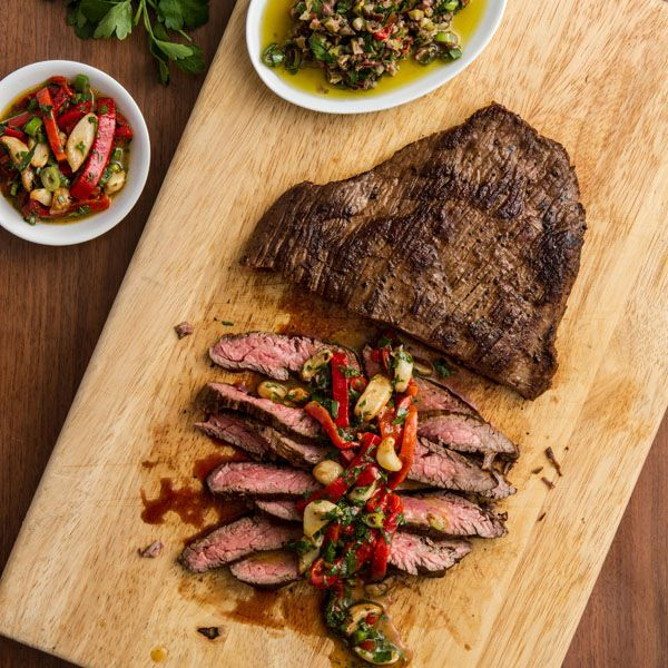 Marinated Steak with Roasted Peppers & Garlic