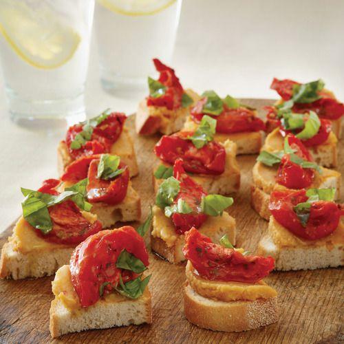 Tomato & Gigandes Bean Bruschetta