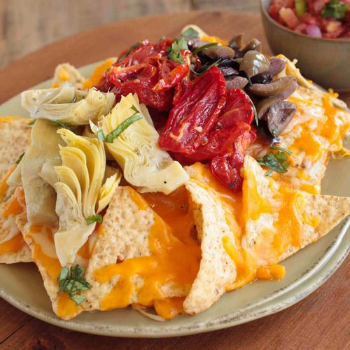 Mediterranean market antipasti nachos with unique ingredients