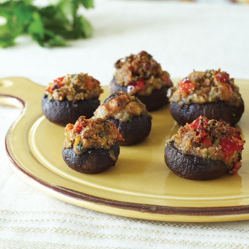 Cheesy Olive-Stuffed Mushrooms