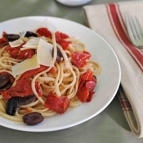 Spaghetti with Tomatoes & Olives